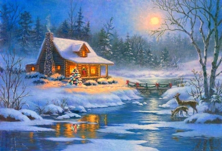 Christmas Cabin - Winter & Nature Background Wallpapers on Desktop ...