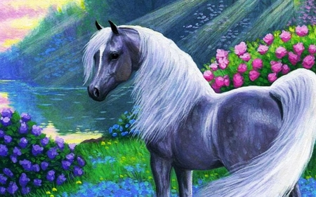 horses and flowers wallpaper - photo #25