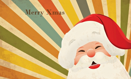 Merry Christmas! - orange, blue, santa, yellow, texture, white, vintage, red, card
