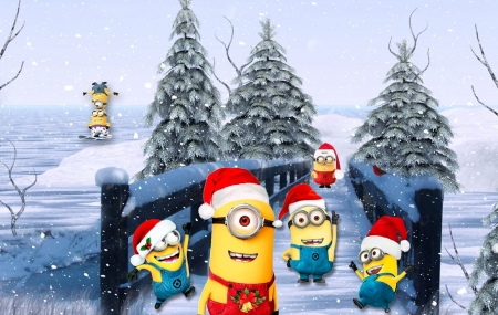 happy christmas minions animated movies wallpapers and. Black Bedroom Furniture Sets. Home Design Ideas