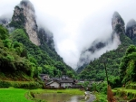 fog over scenic wulingyuan in hunan china
