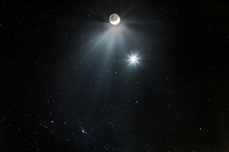 Comet Meets Moon and Morning Star - comet, space, moon, cool, stars, fun