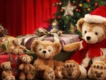 teddy bears by the chhristmas gifts