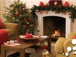 Christmas fireplace decoration