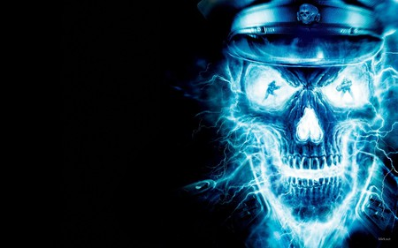 Neon blue Skull - evil, fear, horror, abstract, blue, dead, art, skull, death, digital, 3d, underworld, skary, neon, fantasy
