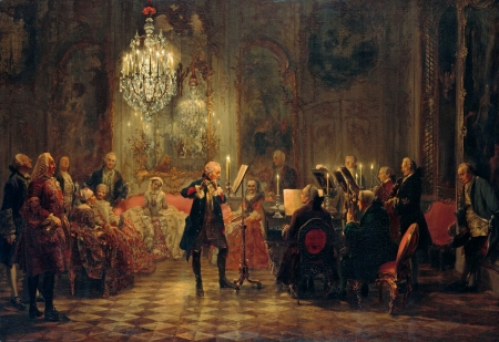 A Flute Concert of Frederick the Great at Sanssouci - classic, painting, flute, music, art, menzen