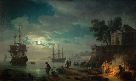 Seaport by Moonlight - painting, seaport, art, Vernet