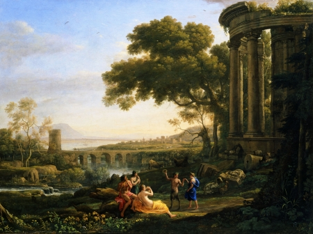 Landscape with Nymph and Satyr Dancing - landscape, lorrain, painting, art