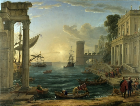 The Embarkation of the Queen of Sheba - sheba, lorrain, queen, painting, art
