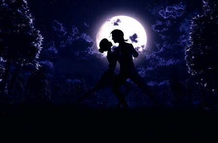 Couples dancing in the moonlight
