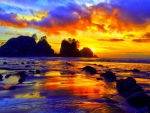 Amazing Colored Sunset Shore