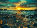 Blue Sunset Rocky Shore