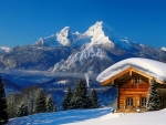 Mountain chalet in winter