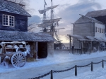 sailing ship by the frozen village