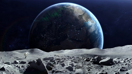 Moon Earth - space, moon, earth, render, 3d