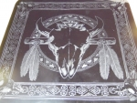 Large Skull Glass Etching