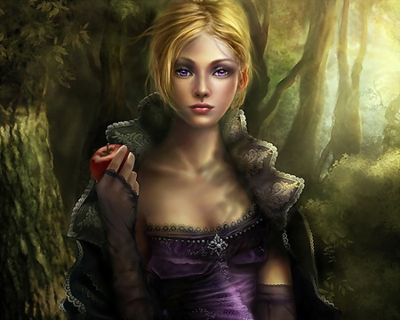 the apple - witch, wallpaper, violet eyes, art, forest, women, apple, fantasy