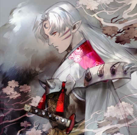 Seshomaru - cherry blossom, flowers, beautiful, demon, kimono, long hair, katana, art, beauty, white hair, anime, man, white, red, sword, wolf