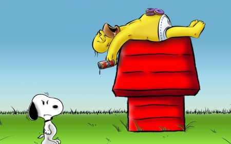 snoopy & homer - dog, house, homer, snoopy