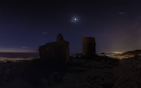 Five Planets at Castell de Burriac - space, moon, cool, stars, planets, mountain, fun