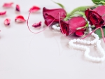 red roses with white pearls