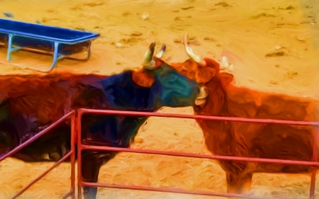 Lazy cows - oil paint, altered reality, cow, barn yard