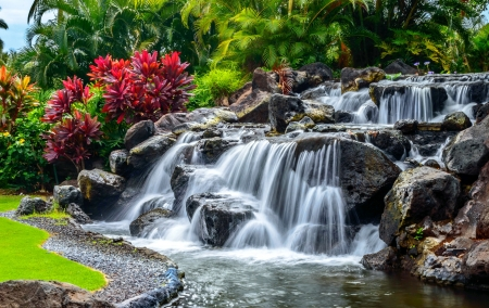 garden cascades cascades greenery waterfall rocks lovely beautiful flowers - Beautiful Flower Gardens Waterfalls