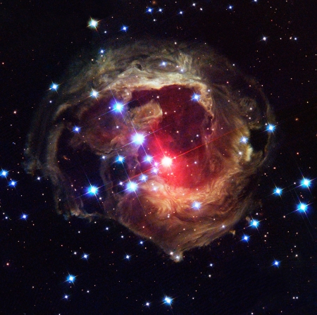 Light 'echoing' in the galaxy - V838 Monocerotis, Light echoing, Stellar outburst, 600000 times the luminosity of earths sun