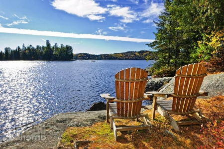 chairs at lake shore lakes nature background wallpapers on desktop