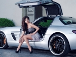 girl and mercedes benz sls amg