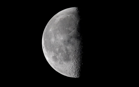 half moon in space - moon, space, cool, fun