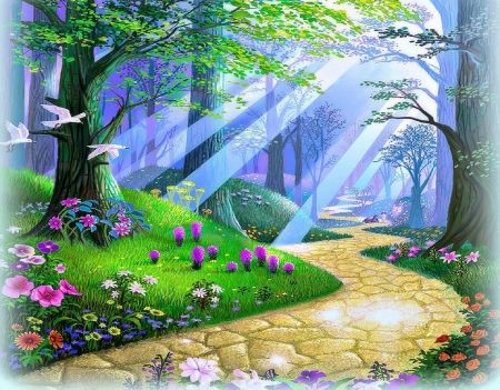 Image result for Peaceful Flowers and Birds Desktop Screens