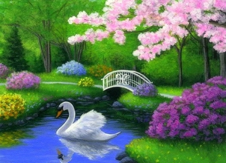 Swan birds animals background wallpapers on desktop for Garden painting images