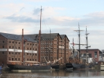 Tall ships in Gloucester Docks for the filming of Alice in Wonderland: Through the Looking Glass. August 2014