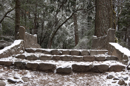 Winter Stairs - winter, snow, stairs, park, forest, yosemite, nature