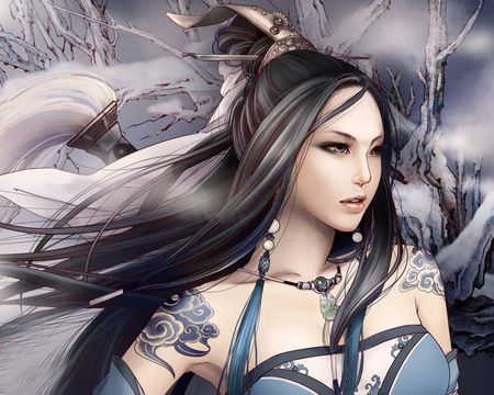 Warrior Princess - black hair, winter lady, tribal, beautiful