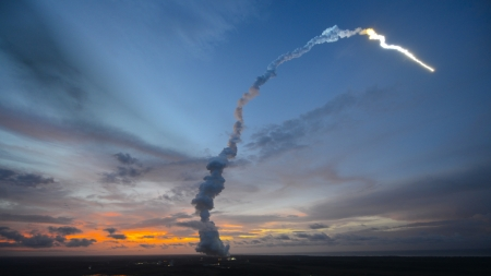 orion space capsule launch - rocket, trail, smoke, dusk, launch