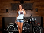 Model Posing with a Motorcycle