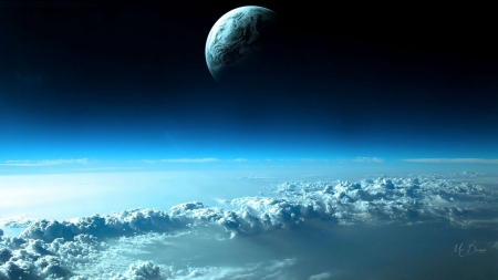 Above the Clouds - space, moon, clouds, blue, sky