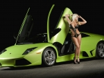 Swimsuit Model and Lamborghini