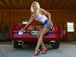 Carrie LaChance and 1987 Red Corvette