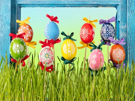 Easter - colors, holiday, easter, easter eggs, happy easter, colorful, grass, spring, spring time
