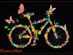 Bicycle ,Butterflies ,Flowers