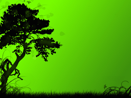 Green Silhouette (Vector Art) - green, tree, vector, silhouette