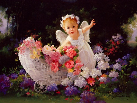 Spring Child - flowers, flower, spring, baby, colorful, angel, basket, child