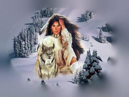 Native American Woman and Wolf - indian, native american, woman, brush, snow, feather, wolf