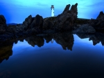 Lighthouse in blue night