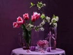 Spring flowers in purple background