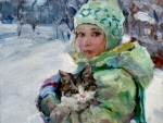 Little Girl with Cat f