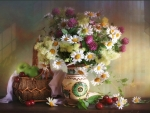 Wonderful wild flowers in ceramic vase